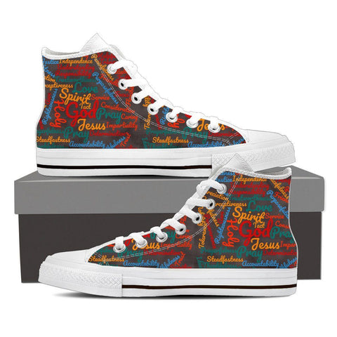Custom-Made Exclusive Holy Bible Virtues  Men's High Top Canvas Shoes
