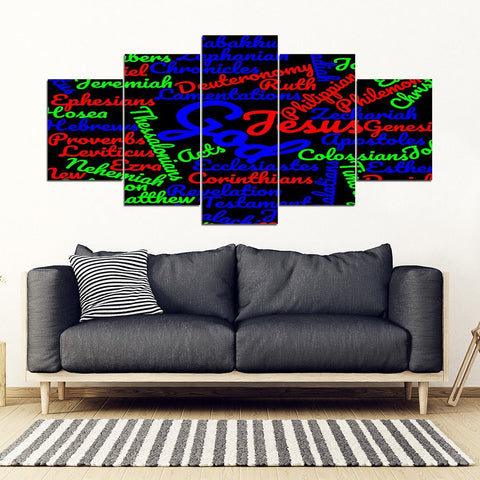 Black Multi-Colored Bible Books Canvas Wall Decor