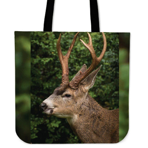 Deer Head Green Tote Bag