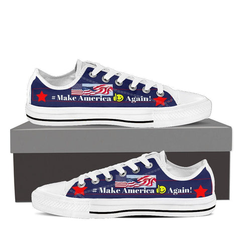 Make America Flag Women Low Top Canvas Shoes