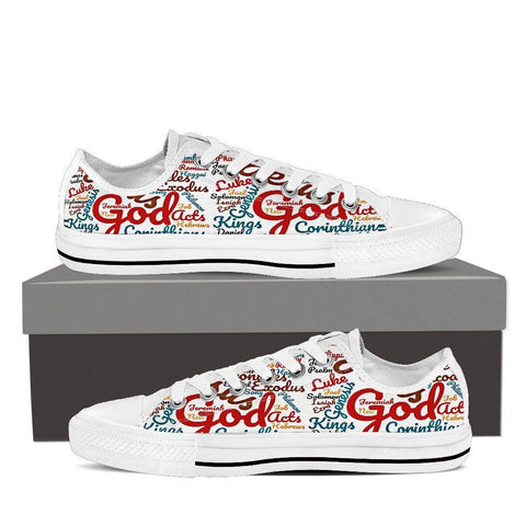 Custom-Made Holy Bible Books Women's Low Top Canvas Shoe White