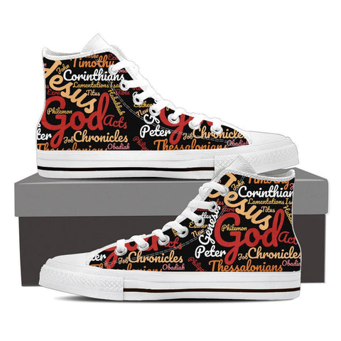 Exclusive Custom-Made Holy Bible Books Women's High Top Canvas Shoe