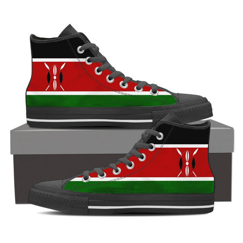 Kenya Flag High Top Canvas Shoes For Men & Women