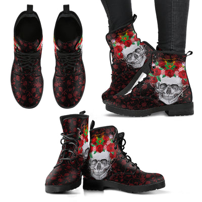 Skull With Roses Women's Leather Boots