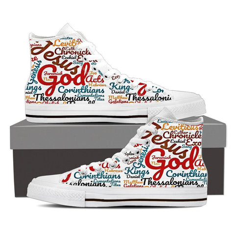 Exclusive White The Holy Bible Books Women's High Top Canvas Shoe