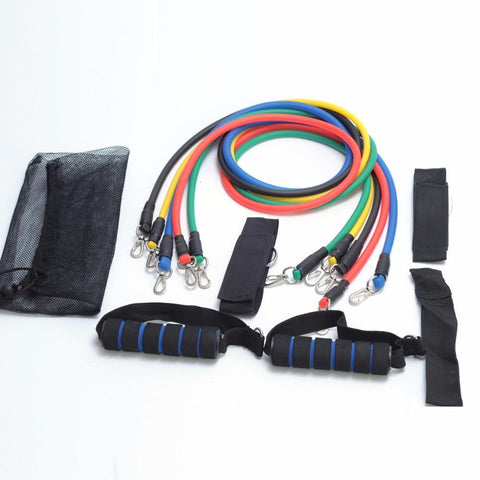 New 11 Piece Set Resistance Bands Workout Exercise Yoga Crossfit Fitness Tubes