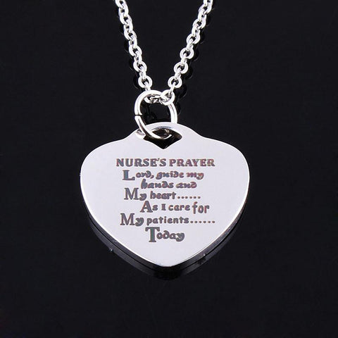Exclusive Nurse's Prayer Statement Choker Heart Love Chain Necklace