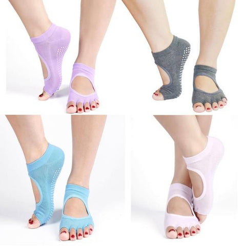 New Non-Slip, Half Toe, Ankle-Grip Yoga Socks