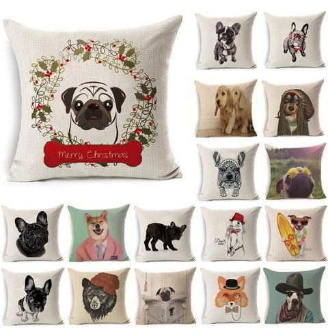Mery Christmas Dog Pattern Cotton Linen Throw Cushion Decorative Pillowcase