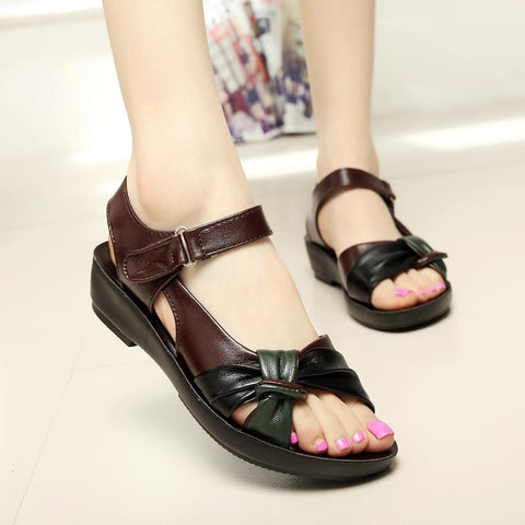 Fashion Comfortable Flat Mixed Colors Leather  Women Sandals