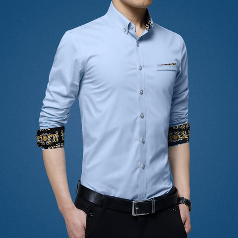 High Quality New Fashion Luxury Brand  Non-Iron Shirt  Chemise Homme Long Sleeve Men Dress Shirt