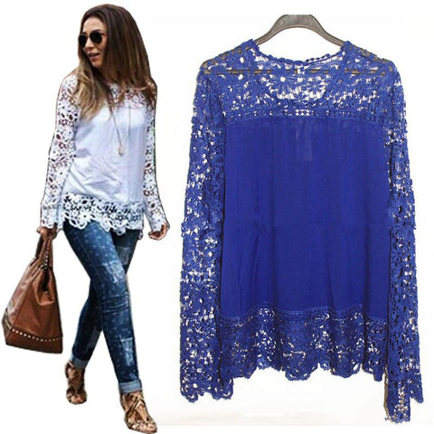 New Women Floral Crochet Lace Long Sleeve Blouse