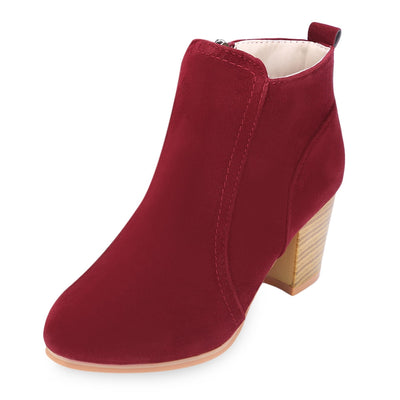 Stylish Side Zipper Scrub Boots Women High Heel Shoes