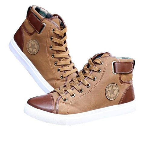 New Arrival  Front Lace-Up Leather Ankle Canvas High Top Boots Men Shoes
