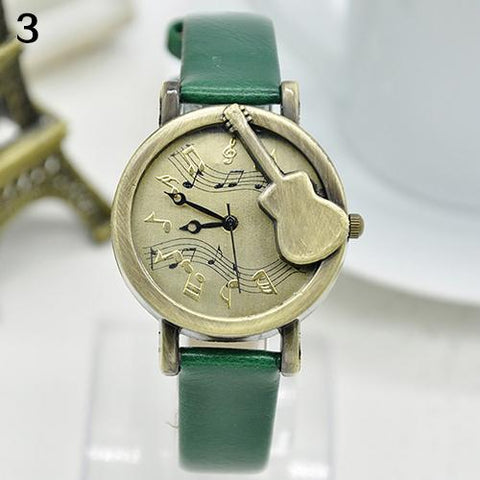 Brand  New Unisex  Vintage Guitar Pointer Music Notes  Wrist Watch