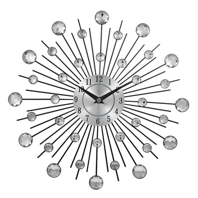 Nick's Crystal Sunburst Metal Clock Home Art Decor Diameter 13 inch