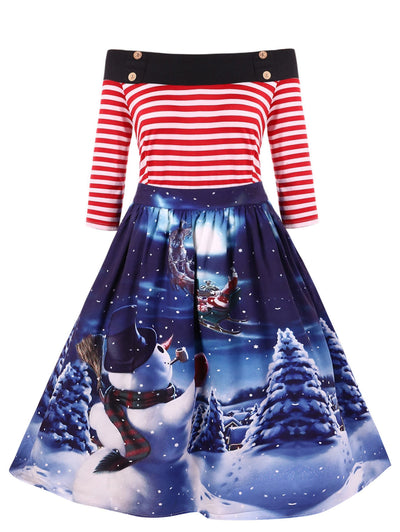 Christmas Vintage Snowman Print Off The Shoulder Dress