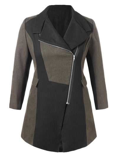 Plus Size Color Block Woollen Coat