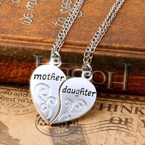 Premium 2 Pc Silver Plated Mother Daughter Heart Love Pendant Necklace