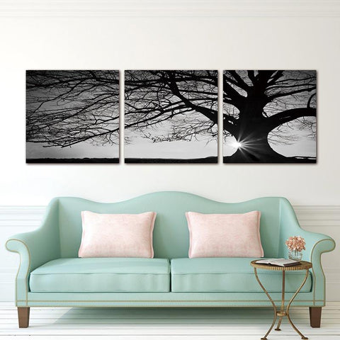 Modern 3 Panel Canvas  Tree Sunset Painting Home Decor Wall Art