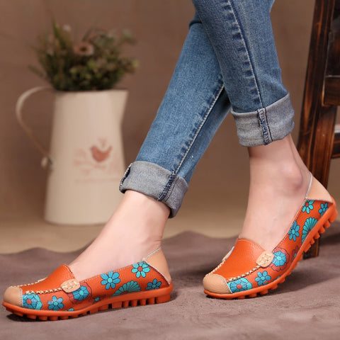 Comfortable Soft Colorful Fashion Women Casual Genuine Leather Comfortable Soft Flat Slip-On Shoes