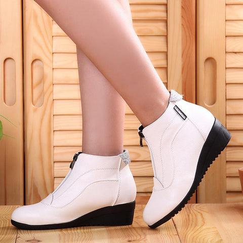 Fashion Eco-Friendly Leather Ankle-High Boots Woman Fashion Shoes