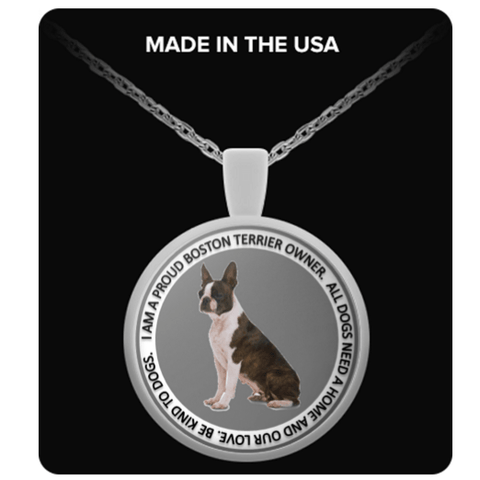 Boston Terrier Round Pendant Necklace