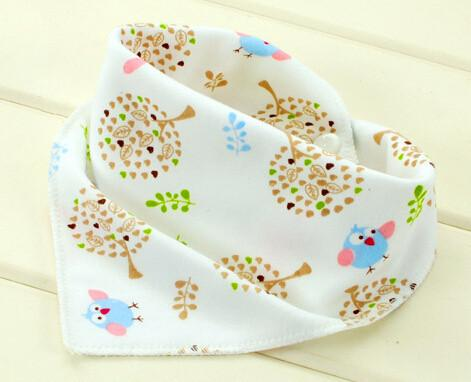 High Quality Premium Double Layer Cotton Cartoon Character Triangular Baby Bibs