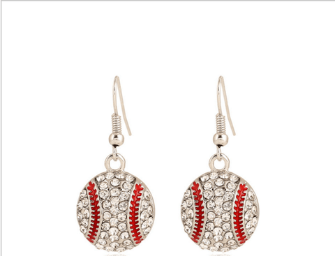 Baseball Rhinestone Earrings