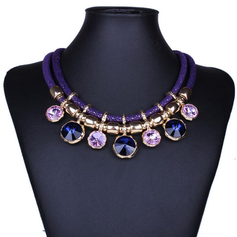 Best Deal New Diomedes Elegant Colorful Rhinestones Choker  Bohemia Tassels Women Leaf Necklace