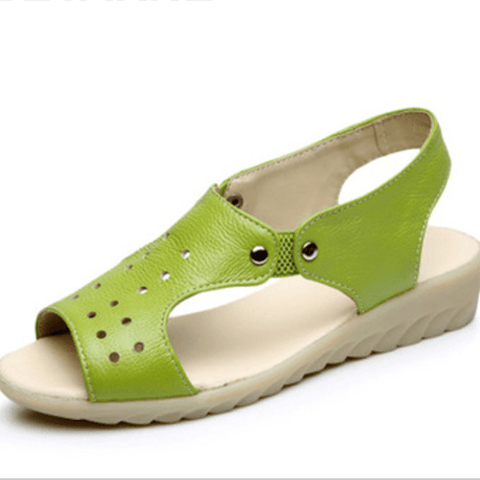 Genuine Cow Leather Women Fashion Flat Heel Sandals Ladies Casual Shoes