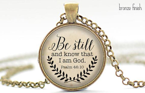 Exclusive Bible Verse  Necklace Psalm 46:10 Pendant Necklace.