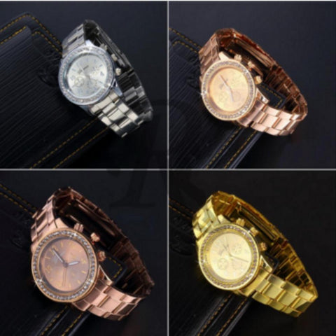 Geneva Bling Crystal Women Or Girl  Unisex Stainless Steel Quartz Wrist Watch