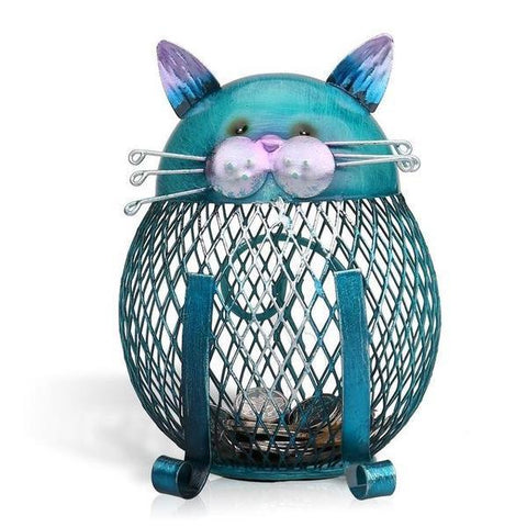 Blue Cat-Shaped Figurine Metal Coin Money Piggy Bank