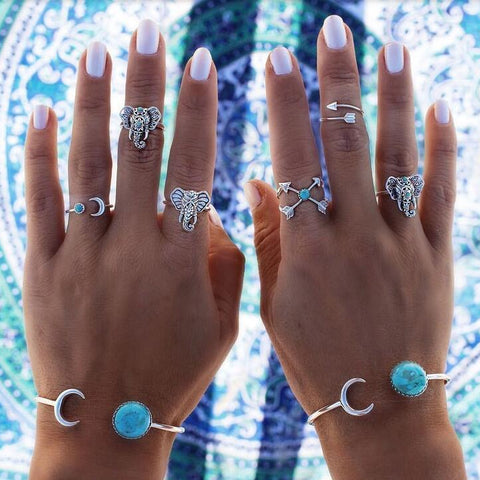Premium 6 PCs Set Vintage Elephant Lucky Rings