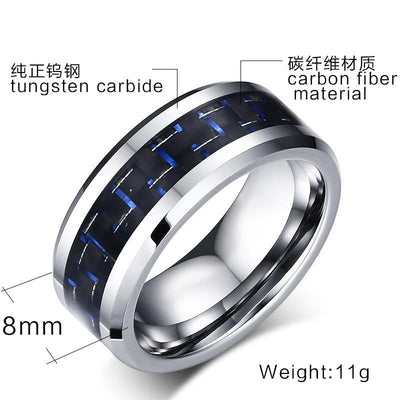 Luxury Pure Tungsten Carbon Fiber Men Finger Ring