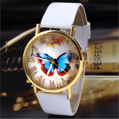 Women Luxury Butterfly Style Leather Band Wrist Watch