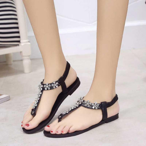 Fashion Woman  Crystal Flower Flat Sandals