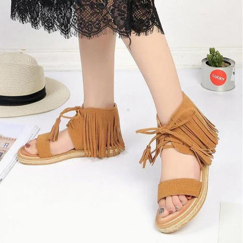 Women Shoes Solid Open Toe Lace-Up Ladies Tassel Bohemian  Footwear