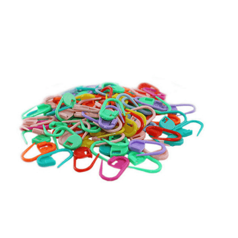 100 CROCHET LOCKING STITCH MARKERS (MIXED COLORS)