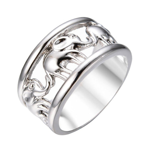 Charming Lucky Elephant Vintage White Gold Ring