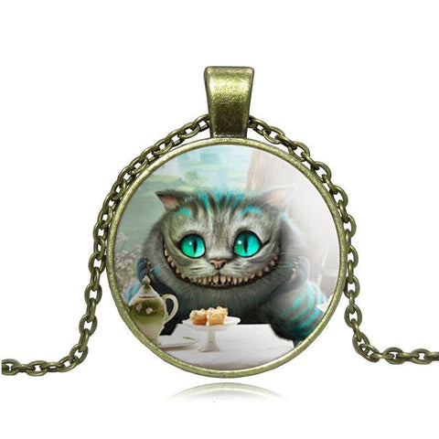 Vintage Bronze Cheshire Cat Pendant Necklace