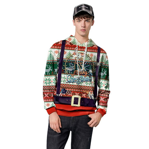 Nick's™ Christmas Hooded Long Sleeved Two Piece Printed Hoodie