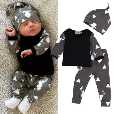 Cute Newborn Baby Girl or Boy Deer Long Sleeve T-Shirt Tops, Pants & Casual Hat