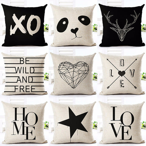 Deer Love Star Panda Printed Cotton Linen  Decorative Pillowcases