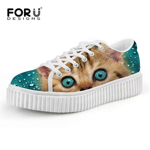 Hot Cute Cat Women Loafer Creepers Lace Up Casual Sneakers Shoes