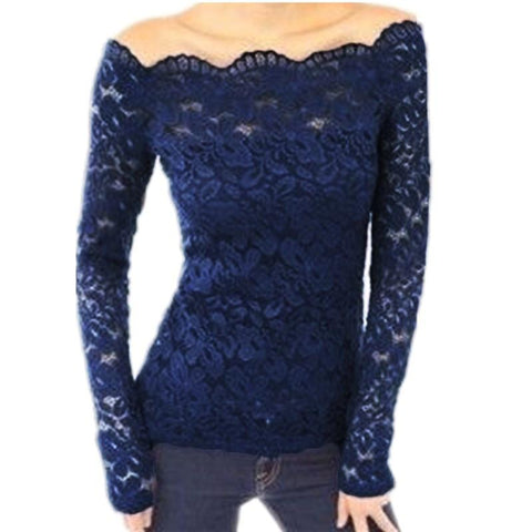 Women Off-Shoulder Crochet Lace Long Sleeve Shirt Blouse