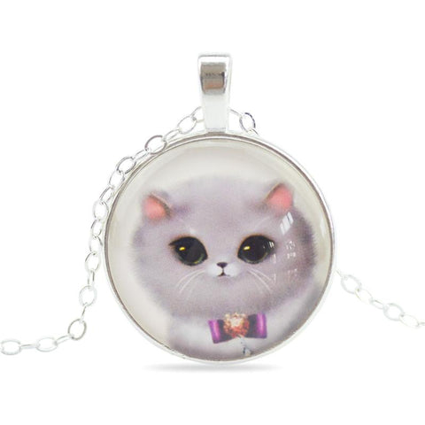 Sweet Cat Pendant Necklace Silver-Plated Chain