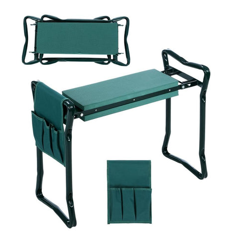 Folding garden stool for sitting, kneeling with tool pouches