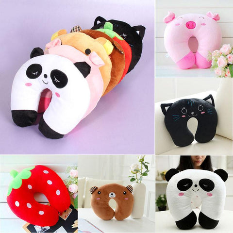 Premium Comfortable Multi-Color Cartoon Animal U Shaped Travel Neck Head Cotton Pillow Cotton